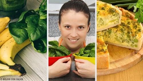 Diversos alimentos que se pueden incluir en la dieta con espinaca