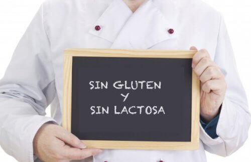 Letrero sin gluten y sin lactosa