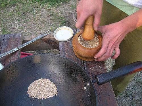 Preparación del gomasio