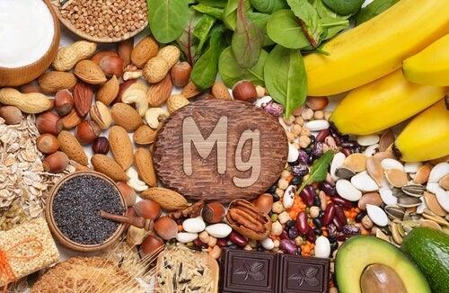 Alimentos rodeando el símbolo del magnesio