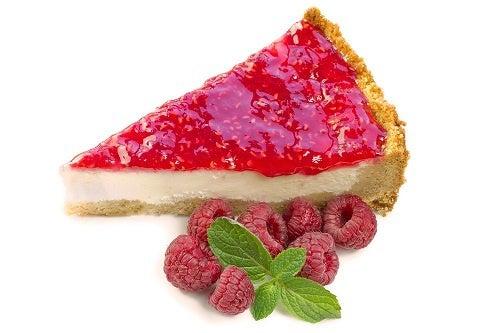 Wedge of homemade raspberry cheesecake