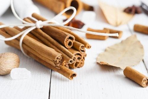 Ramas de canela para mejorar el olor del armario