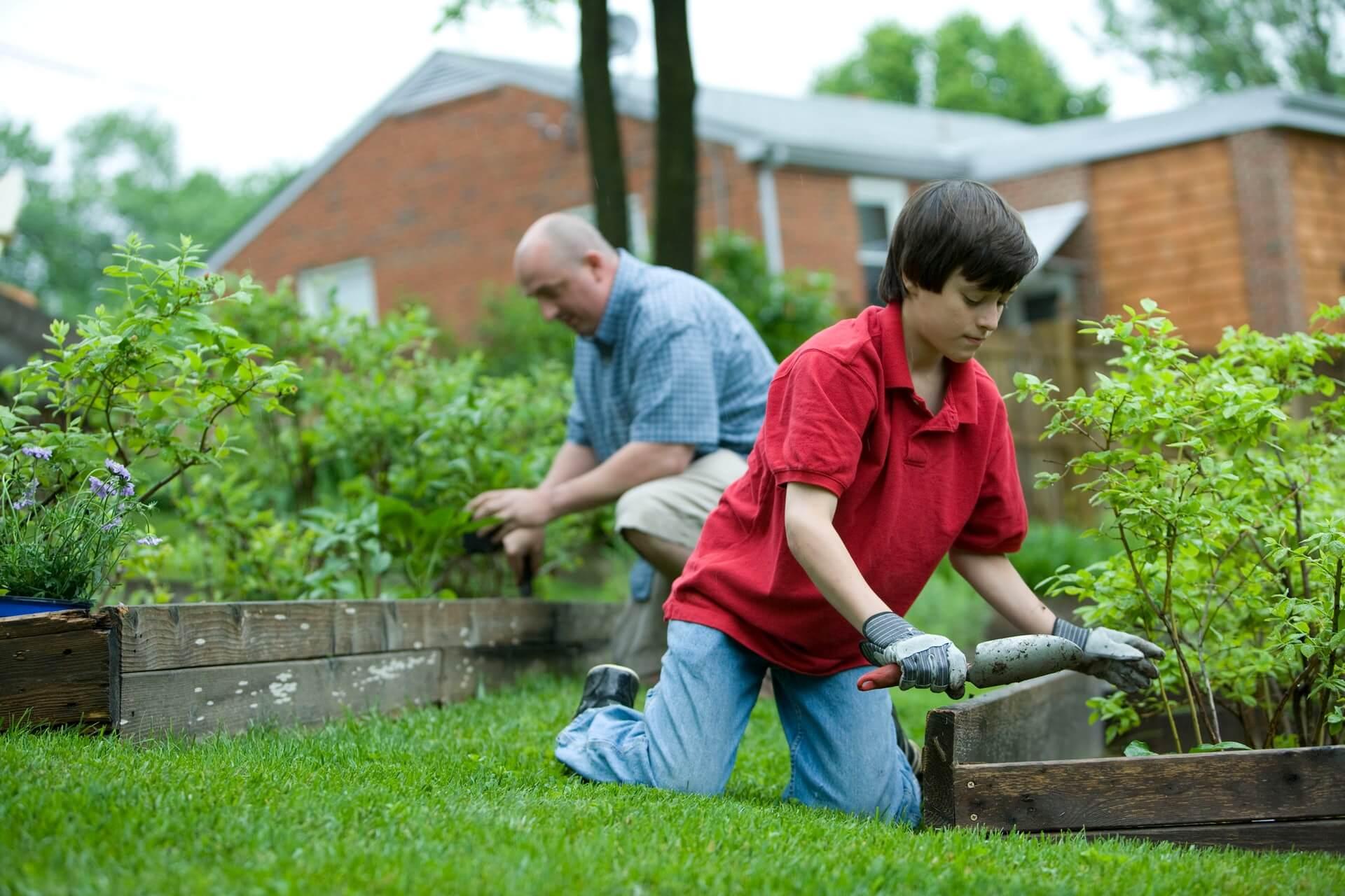 Nieto y abuelo en una jardinería.