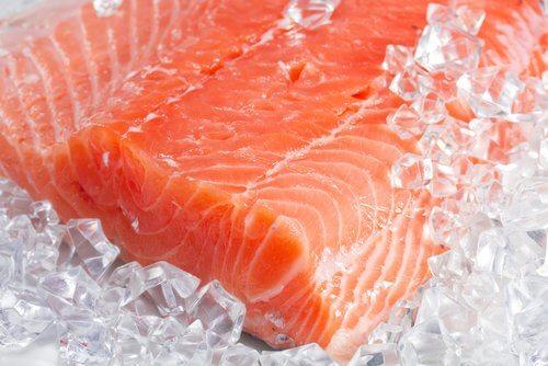 Filete de salmón en hielo.