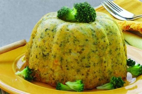 Budin de calabaza y brócoli.