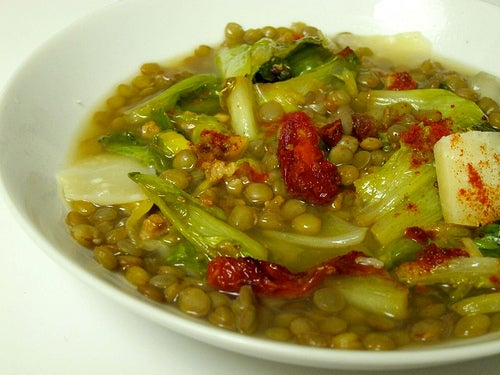 Plato de lentejas con verduras