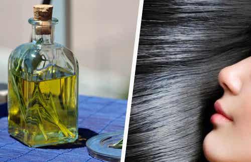 Pelo suave y oscuro con aceite de romero