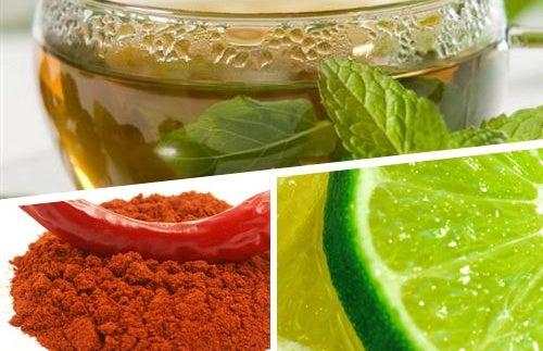 Bebida adelgazante de te verde cayena y limon