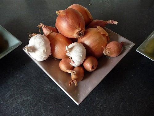 Fuente de cebolla y ajo