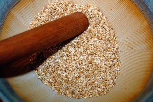 Gomasio para la dieta depurativa del arroz rojo