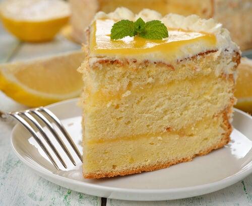 Bizcocho de limón sin huevos ni mantequilla