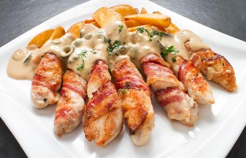 rollos pechuga pollo y bacon