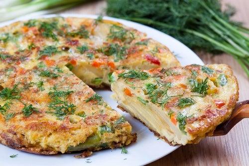 Tortilla de patata y alcachofas