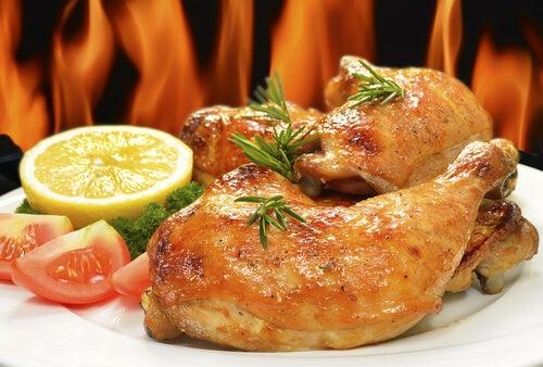 Pollos al horno con naranja y romero
