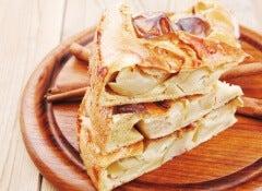 pastel volteado de manzana