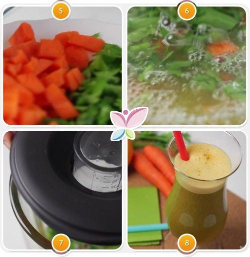 Preparación zumo de zanahoria, naranja y perejil para perder peso