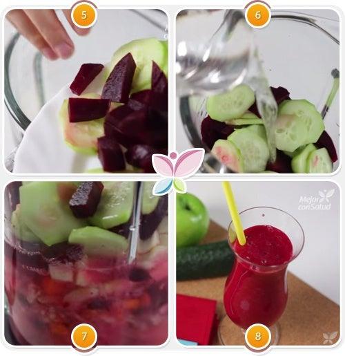 Pasos finales para elaborar el jugo de remolacha, pepino y manzana.