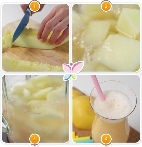 Paso a paso del zumo de toronja y melon