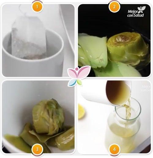 Preparacion de te de alcachofa