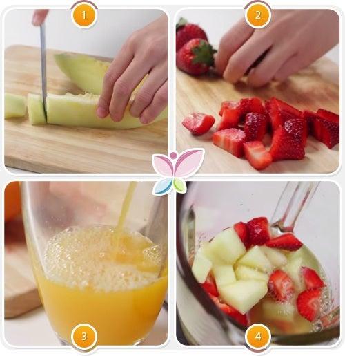 Receta de zumo de melon, naranja y fresas