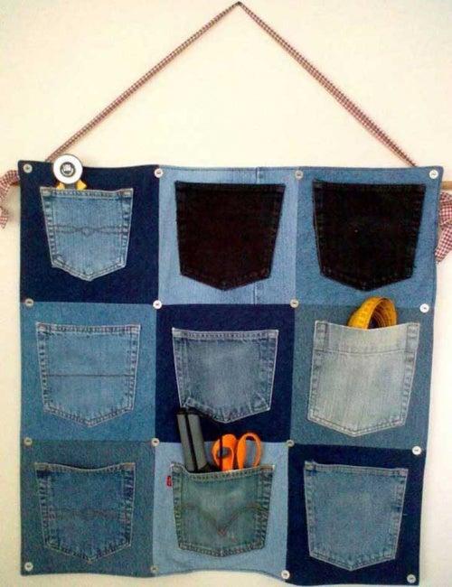 Organizador hecho con jeans