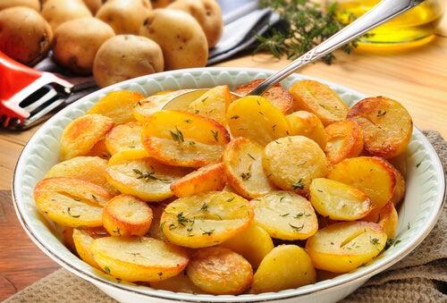 Patatas apiladas