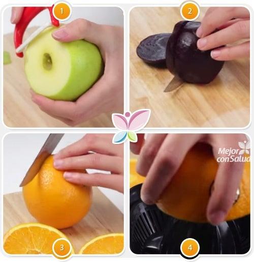 Zumo de naranja, manzana, limón y remolacha para controlar el colesterol-1