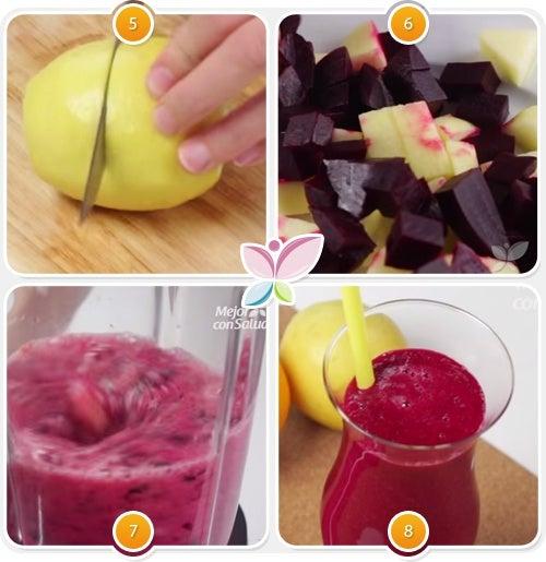 Zumo de naranja, manzana, limón y remolacha para controlar el colesterol-2