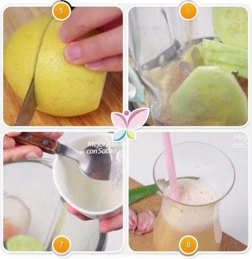 Zumo de limón, pepino, ajo, sábila y toronja para reducir el colesterol-2