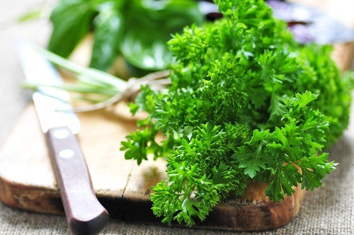 Some parsley on a cutting board.