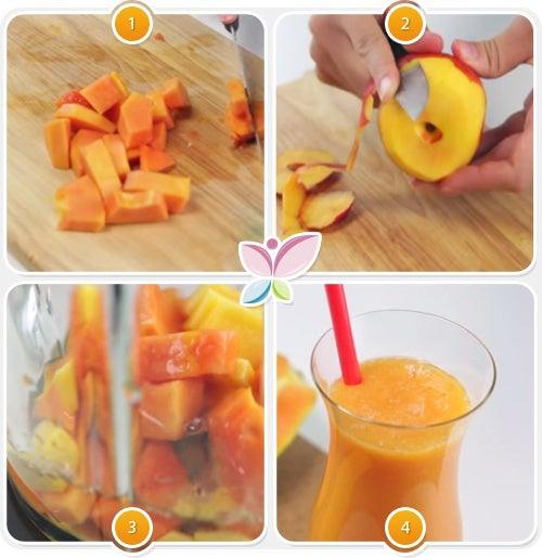 Preparacion zumo de papaya y durazno