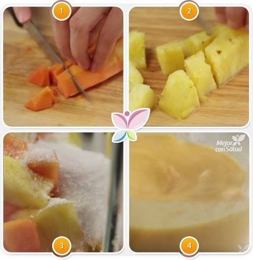 Cómo hacer un zumo natural de piña y papaya