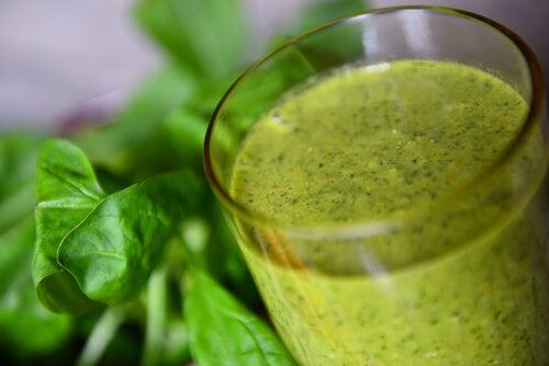 Bebida verde vegetariana