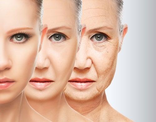 Rostro mostrando el envejecimiento
