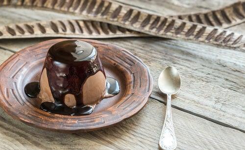 Flan de chocolate y dulce de leche