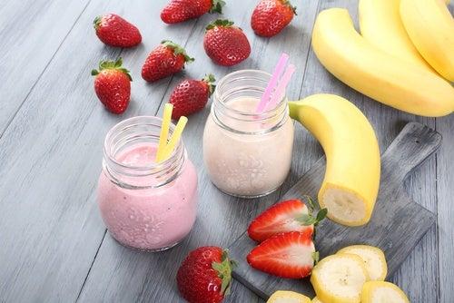 Licuado-de-fresa-y-plátano