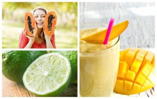Batido de papaya, mango y lima para combatir la indigestión