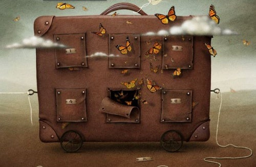 Maleta llena de mariposas que representa a la vida