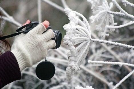 Persona con guantes de invierno.