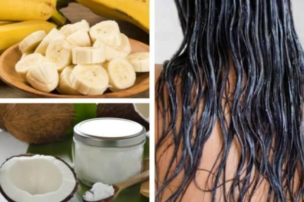 cabello liso con leche y banana