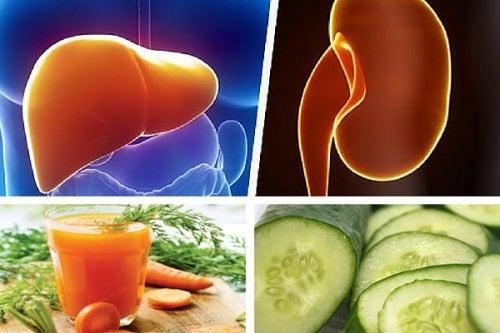 Jugo de zanahoria y pepino para fortalecer el hígado y los riñones