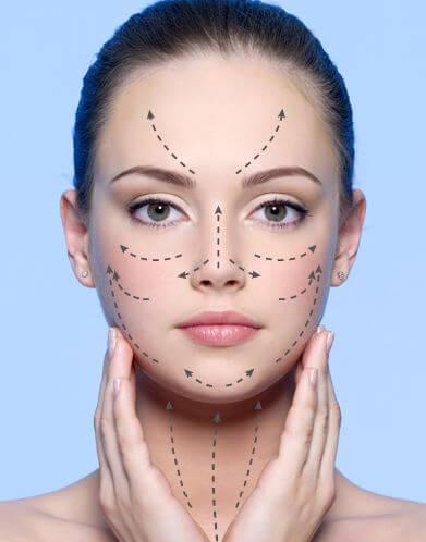 Aplicación ascendente de cremas y lociones faciales
