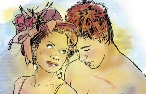 Mujer y hombre desnudos. cerebro masculino