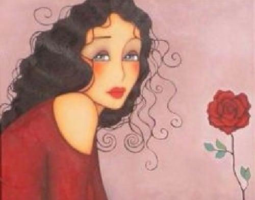 Una mujer con una rosa