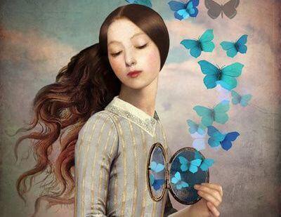 mujer mariposas