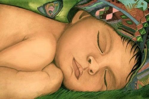 bebé con mariposa