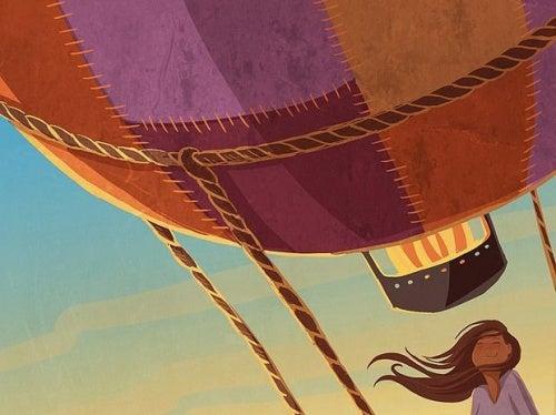 chica viajando en globo recordando el placer de hacer lo que amas