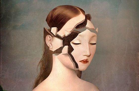 mujer con rostro fragmentado por depresion