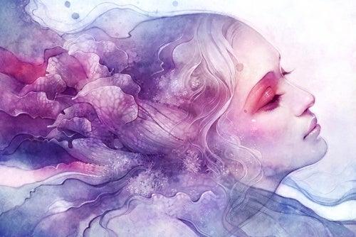mujer en rosa y azul representando el abismo de sus recuerdos