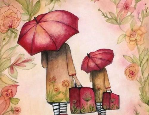 Mujeres caminando de espaldas